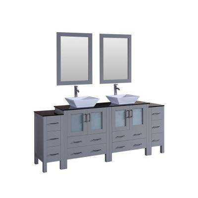 84 in. W Double Bath Vanity with Tempered Glass Vanity Top in Black with White Basin and Mirror