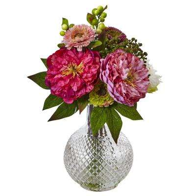 14 in. Peony and Mum in Glass Vase