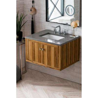 Silverlake 30 in. Single Bath Vanity in Natural Apple Wood with Quartz Vanity Top in Grey Expo with White Basin