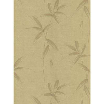 Kitchen and Bath Resource II Gold Bamboo Spray Wallpaper Sample