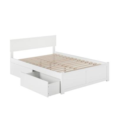 Orlando White Full Platform Bed with Flat Panel Foot Board and 2 Urban Bed Drawers