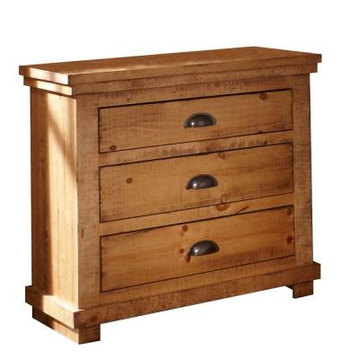 Willow 3-Drawer Distressed Pine Nightstand