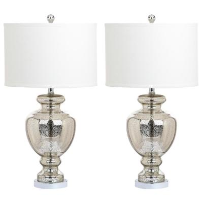 Morocco 28 in. Silver/Ivory Glass Vase Table Lamp wit Off-White Shade (Set of 2)