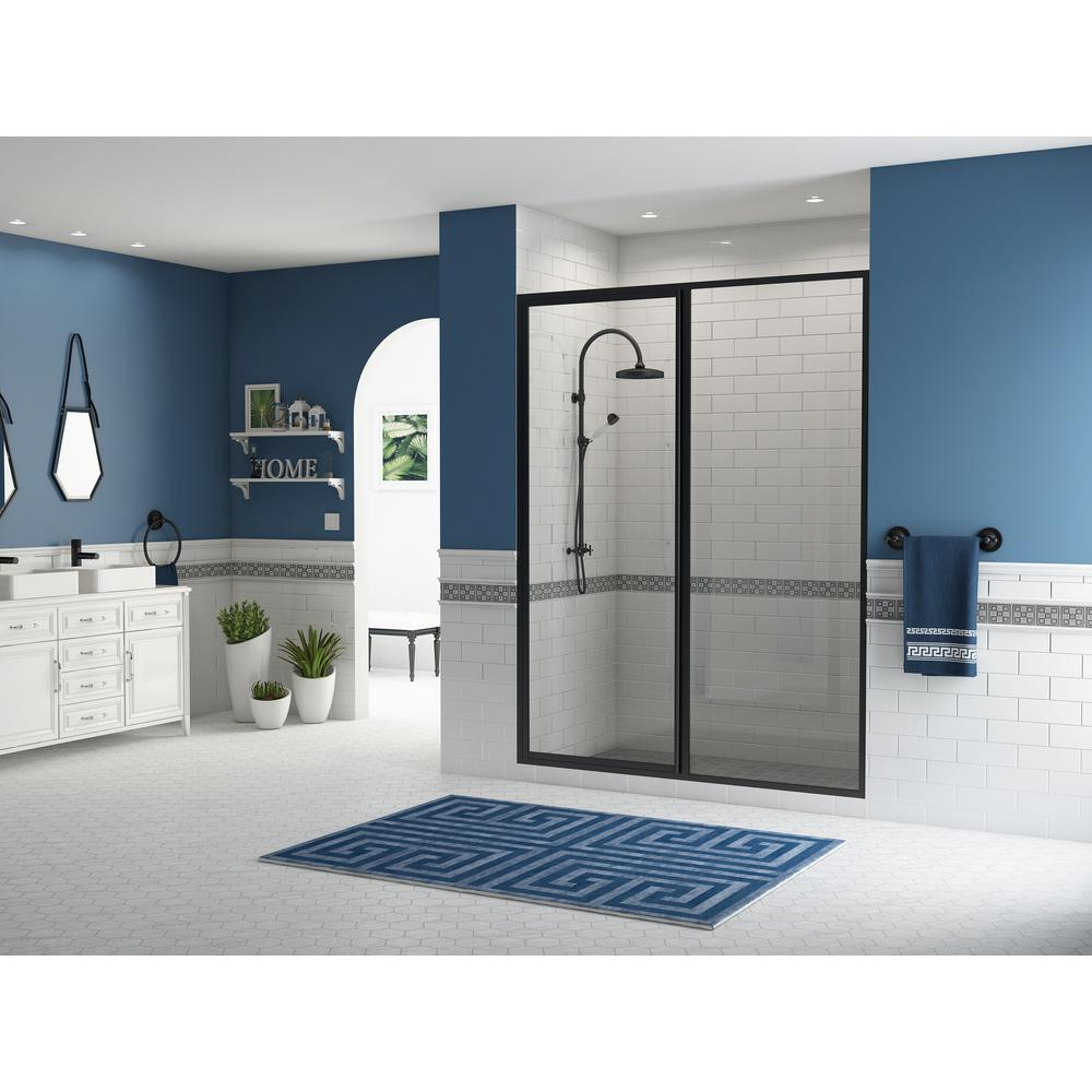 Coastal Shower Doors Legend 37.5 in. to 39 in. x 69 in. Framed Hinged Swing Shower Door with Inline Panel in Black Bronze with Clear Glass