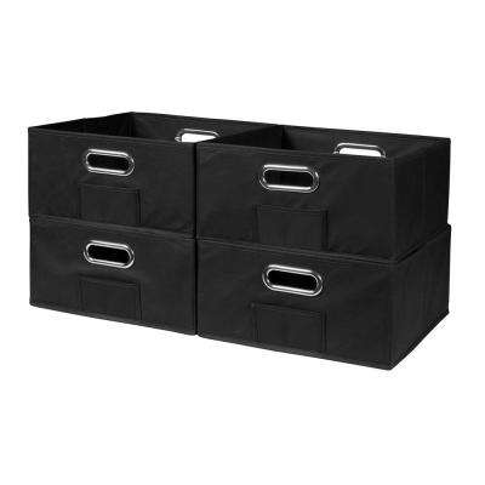 Cubo 12 in. x 6 in. Black Folding Fabric Bin (4-Pack)