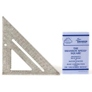 Swanson 7 inch Speed Square Layout Tool with Plain Markings and Blue Book by Swanson