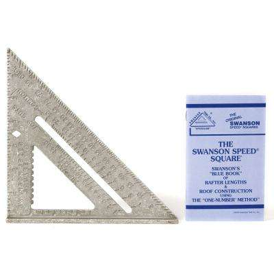 7 in. Speed Square Layout Tool with Plain Markings and Blue Book