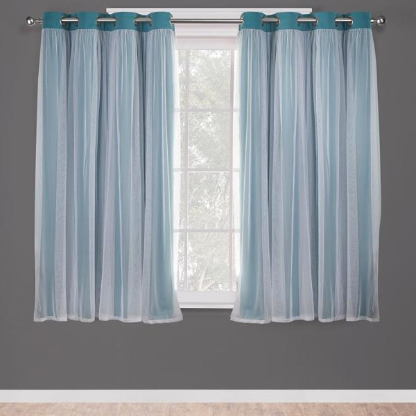 Catarina 52 in. W x 63 in. L Layered Sheer Blackout Grommet Top Curtain Panel in Turquoise (2 Panels)