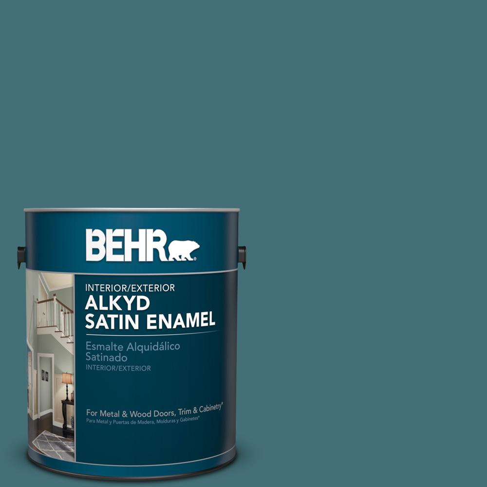 1 gal. #HDC-CL-22 Sophisticated Teal Satin Enamel Alkyd Interior/Exterior Paint