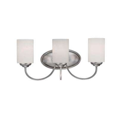 3-Light Brushed Pewter Vanity Light with Etched White Glass