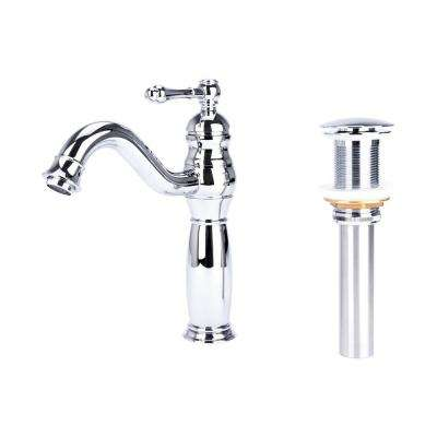 Traditional Single Hole Single-Handle Vessel Bathroom Faucet with Drain in Polished Chrome