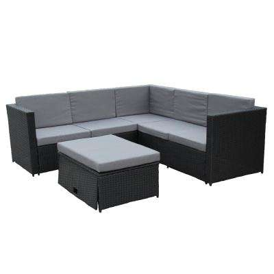 Black 4-Piece Wicker Patio Conversation Set with Grey Cushions