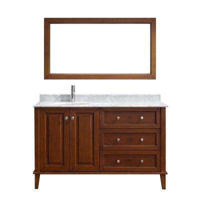 Lily 55 in. Vanity in Classic Cherry with Marble Vanity Top in Classic Cherry and Mirror