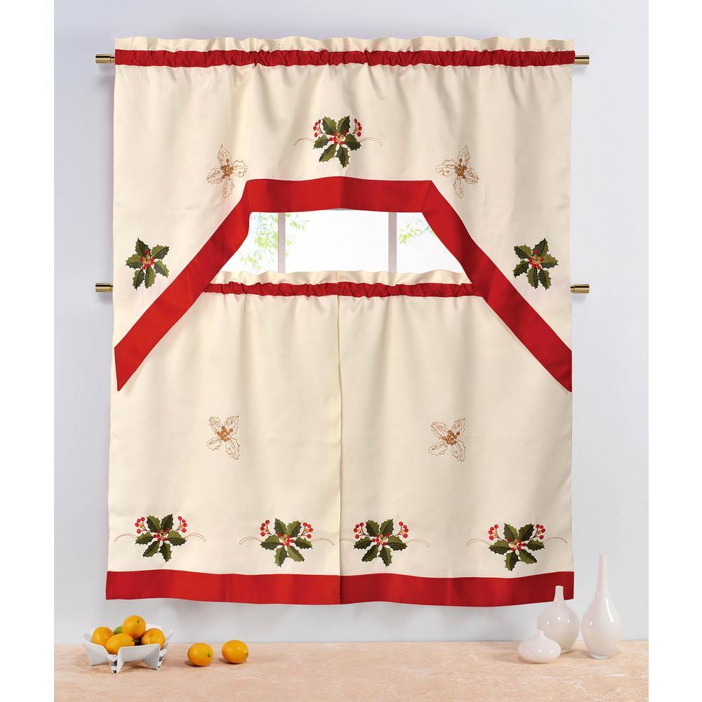 CHI BY CARLOS FALCHI Sheer Holiday Holly Berries Embroide...