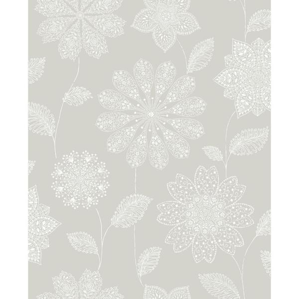 A-Street Panache Taupe Floral Wallpaper Sample 2716-23851SAM