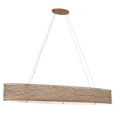 Flow 6-Light Hammered Ore Linear Pendant with Tan Silk Slug Shade and Acrylic Diffuser
