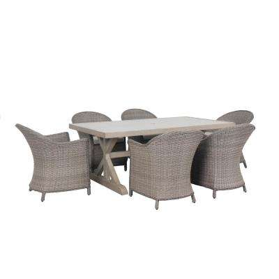 Cabana 7-Piece Wicker Outdoor Patio Dining Set with Beige Cushions
