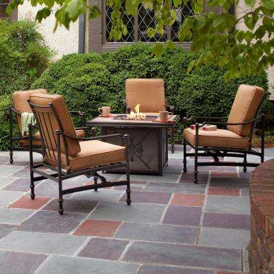 Charming Niles Park 5 Piece Gas Fire Pit Patio Seating Set With Cashew Cushions