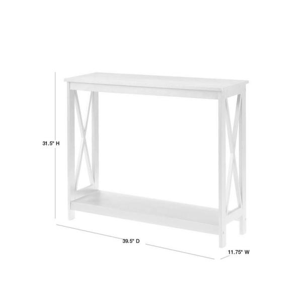 Convenience Concepts Oxford 40 In White Standard Rectangle Wood Console Table With Shelves S20 120 The Home Depot
