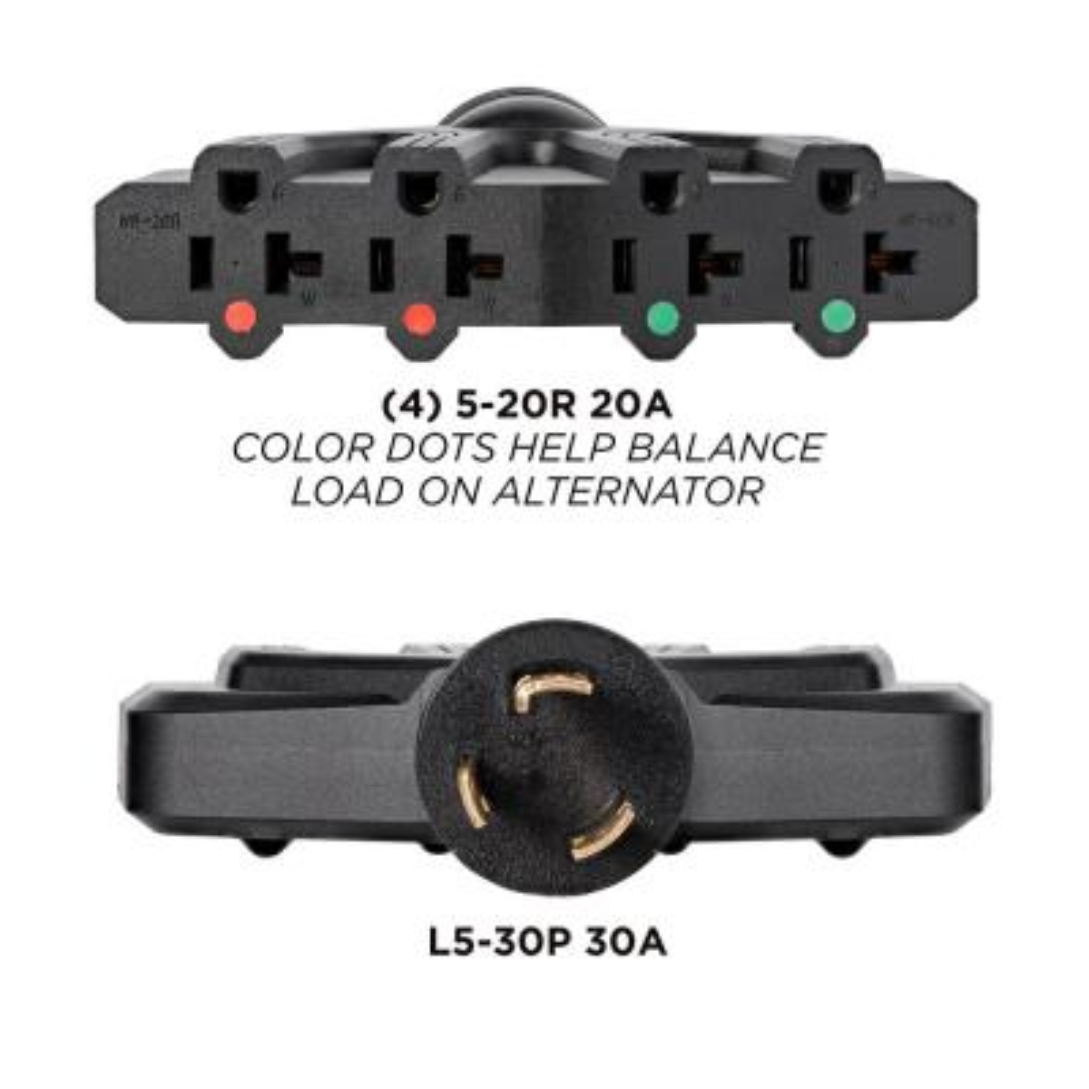 30 Amp 120-Volt L5-30P to (4X) 5-20R Generator Plug Adapter