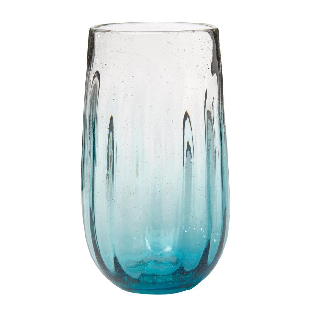 Amici Home Rosa 20 oz. 6-Piece Aqua Glass Hiball Drinkware Set
