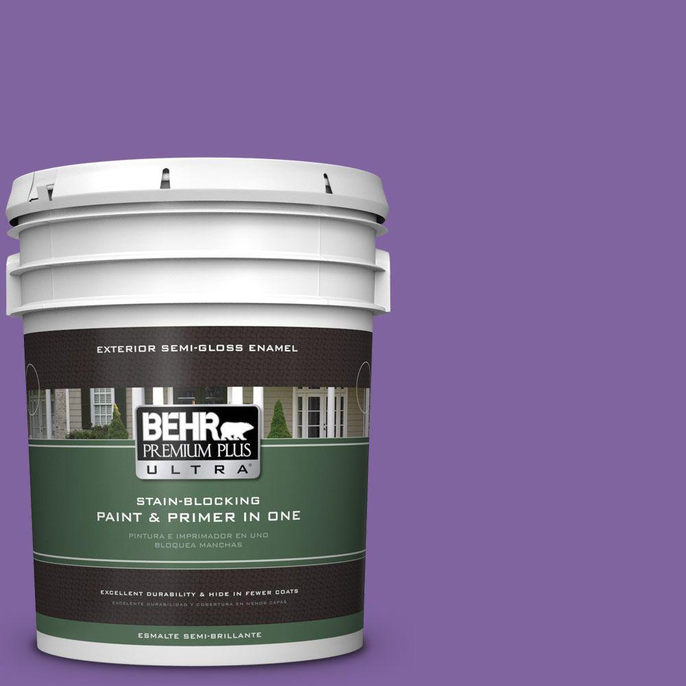 BEHR Premium Plus Ultra 5-gal. #PPU16-3 Purple Paradise Semi-Gloss Enamel Exterior Paint