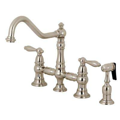 Restoration 2-Handle Bridge Kitchen Faucet with Side Sprayer in Brushed Nickel