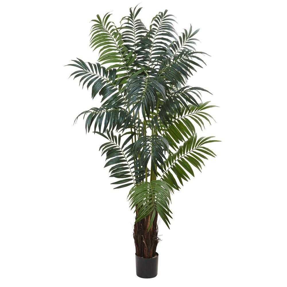 Nearly Natural 7.5 ft. Bulb Areca Palm Tree, Green