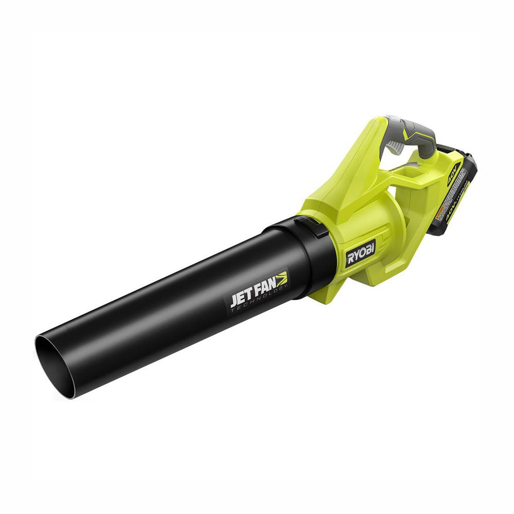RYOBI 110 MPH 500 CFM 40-Volt Lithium-Ion Cordless Variable-Speed Jet Fan Leaf Blower, 4.0 Ah Battery and Charger Included