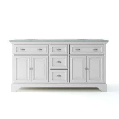 Sadie 67 in. W x 21.5 in. D Vanity in Matte Pearl with Marble Vanity Top in Natural White with White Basin