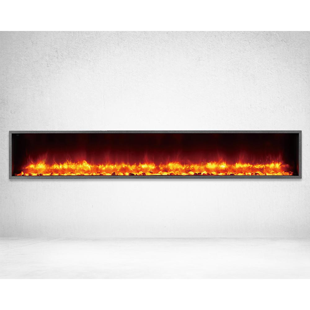 Dynasty Fireplaces 79 in. Built-in LED Electric Fireplace in Black Matt