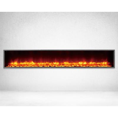 79 in. Built-in LED Electric Fireplace in Black Matt