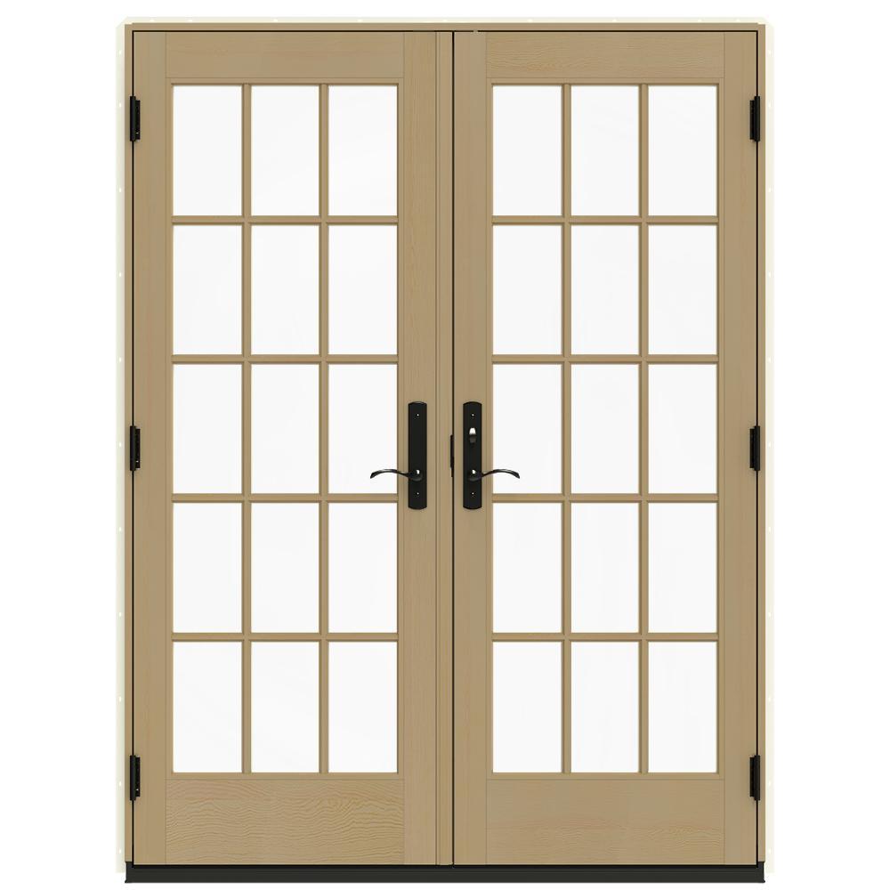 60 in. x 80 in. W-4500 Vanilla Clad Wood Left-Hand 15 Lite French Patio Door w/Unfinished Interior