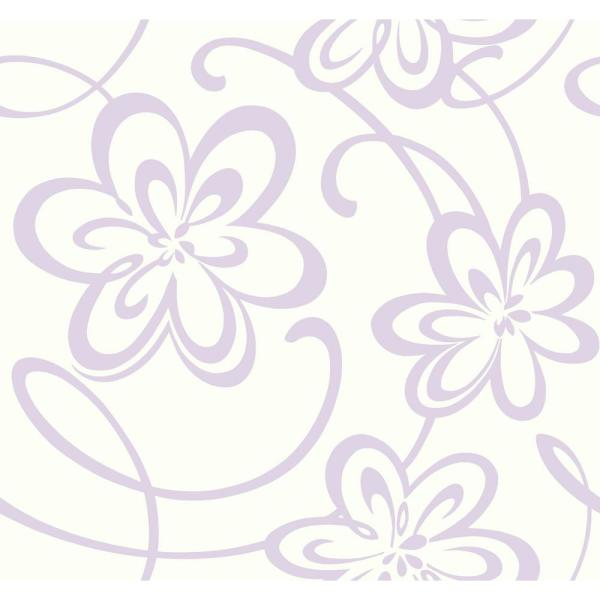Growing Up Kids Large Floral W Scrolls Removable Wallpaper