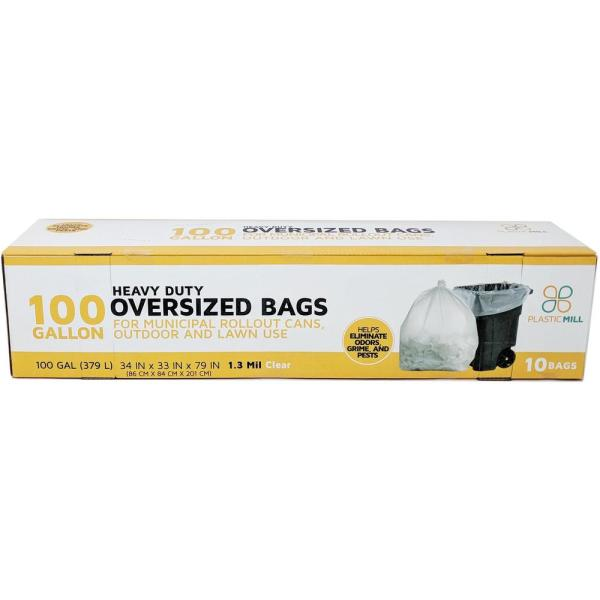 67 in. W x 79 in. H. 100 Gal. 1.3 mil Clear Trash Bags (10-Count)