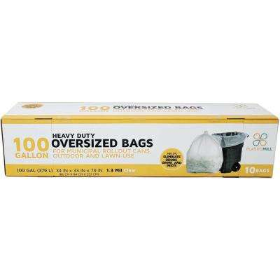 67 in. W x 79 in. H. 100 Gal. 1.3 mil Clear Trash Bags (10-Case)