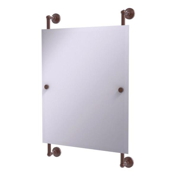 Allied Brass Waverly Place Collection 21 In X 33 In Rectangular Frameless Rail Mounted Mirror In Antique Copper Wp 27 92 Ca The Home Depot