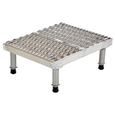 19 in. x 36 in. Stainless Steel Adjust Step-Mate Stand - Adjustable Height Range 9.5 in. x 15.5 in. (Serrated Deck)