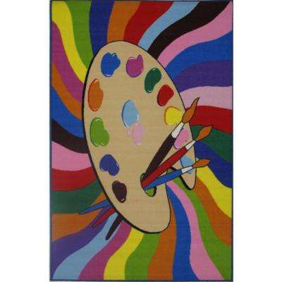 Fun Time Painting Time Multi Colored 39 in. x 58 in. Area Rug