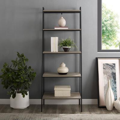 72 in. Grey Wash Metal and Wood Ladder Shelf