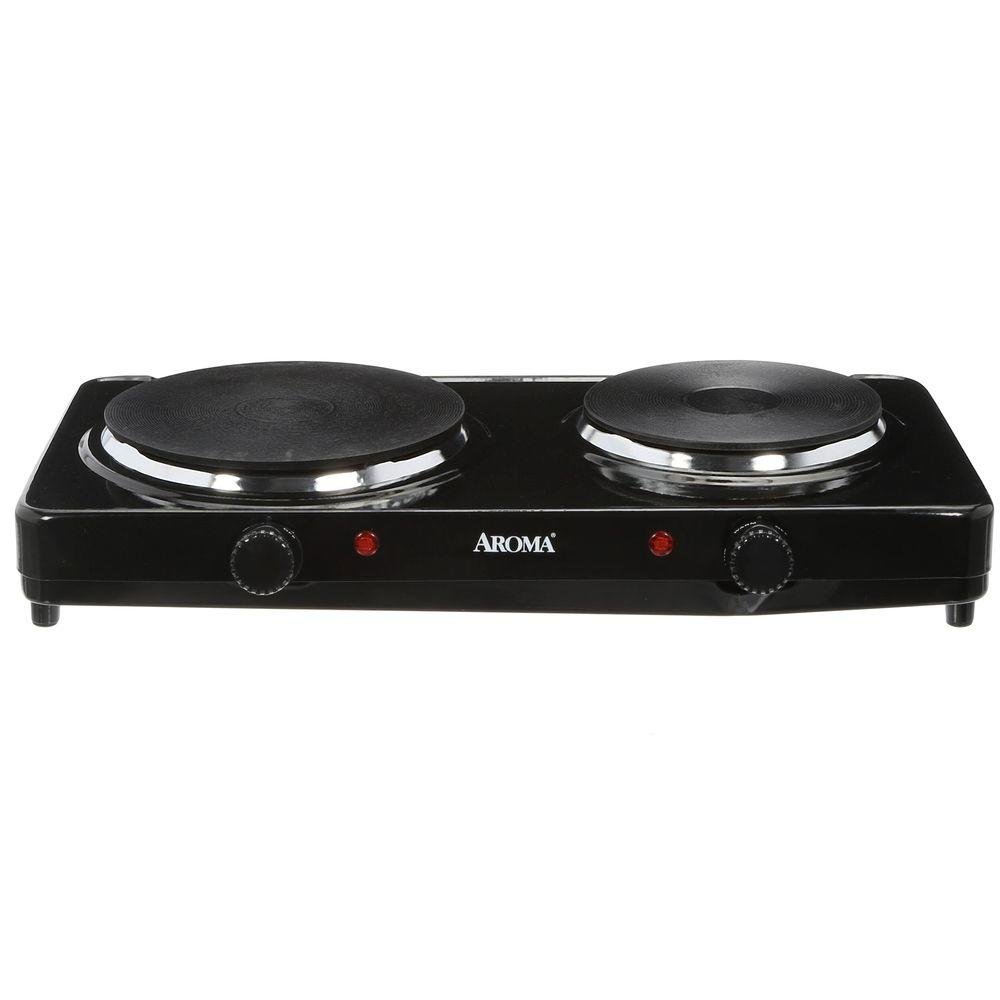 AROMA 2-Burner 7.5 in. Black Diecast Hot Plate with Temperature Control