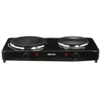 2-Burner 7.5 in. Black Diecast Hot Plate with Temperature Control