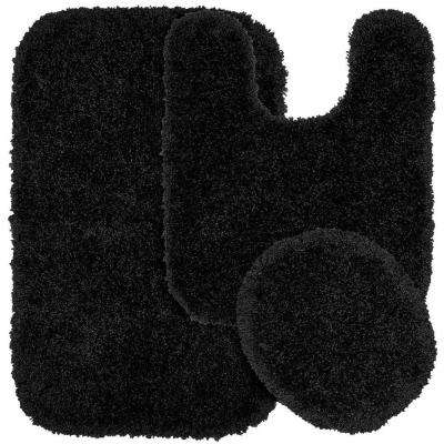 Serendipity Black 21 in. x 34 in. Washable Bathroom 3-Piece Rug Set