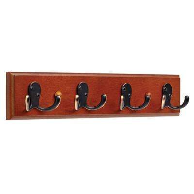 16 in. Dark Caramel and Venetian Bronze Double Prong Robe Hook Rack