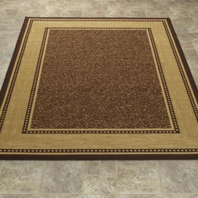 Contemporary Bordered Design Brown 5 ft. x 7 ft. Non-Skid Area Rug