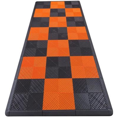 4.3 ft. x 9.6 ft. Orange Checkered Motorcycle Pad Ribtrax Modular Tile Flooring (36 sq. ft.)