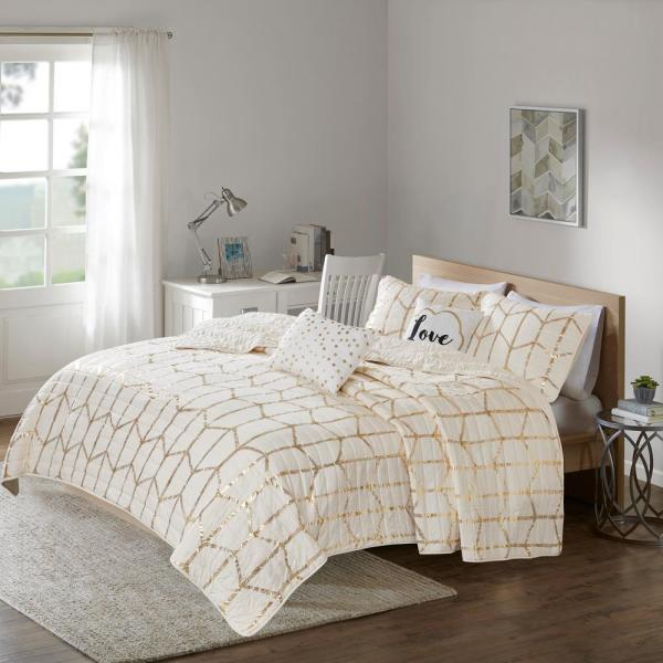 Intelligent Design Khloe 4-Piece Ivory/Gold Twin/Twin XL Geometric Coverlet Set