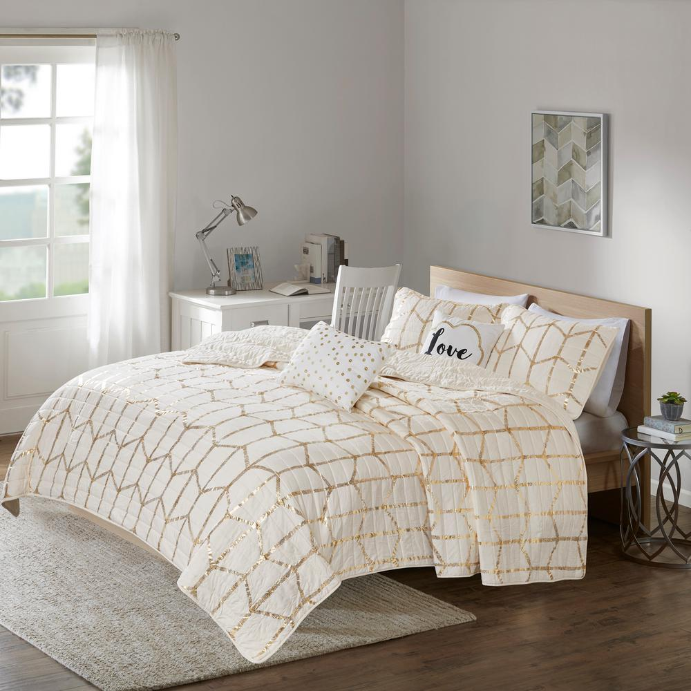 Intelligent Design Khloe 5 Piece Ivory Gold King California Geometric Coverlet Set
