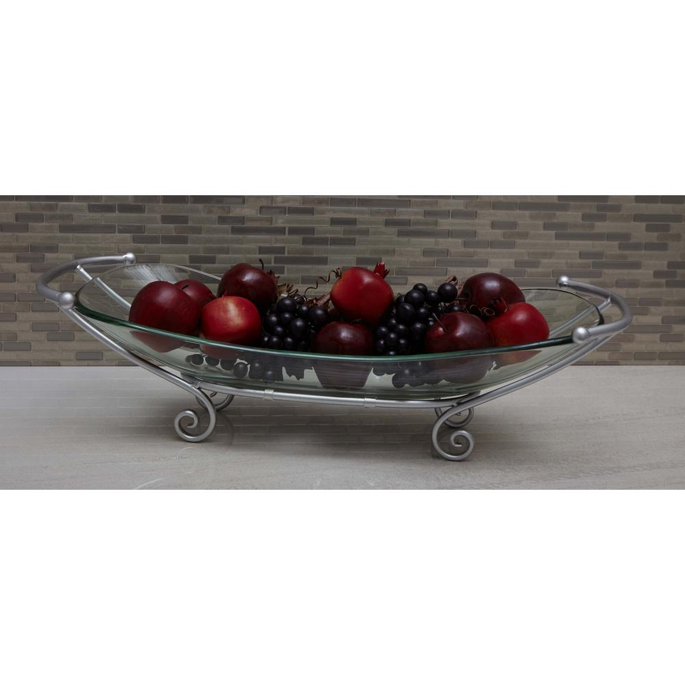 Gl Bowl With Curled Iron Feet In Silver 68562 The Home Depot
