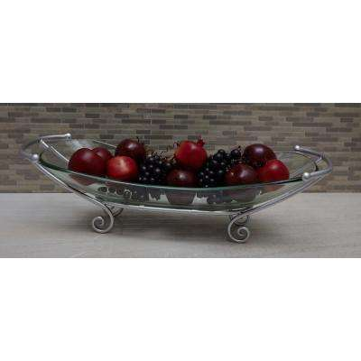 7 in. x 28 in. Glass Bowl with Curled Iron Feet in Silver